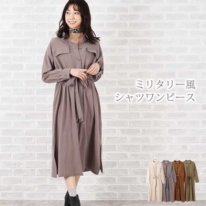 S/S Cotton Military Long Shirt One-piece Dress
