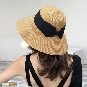 Broad-brimmed Bag Ribbon Straw Hat