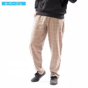 [ 2020NewItem ] Checkered Pants Wide Tapered Cotton Linen Checkered