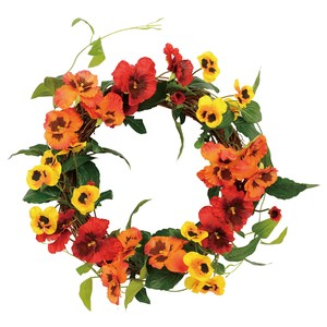 Papillon Pansy Wreath Red Orange Flower Artificial Flower