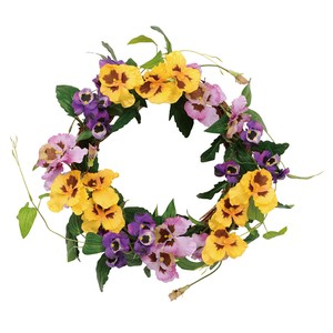 Papillon Pansy Wreath Lavender Yellow Flower Artificial Flower