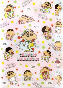 "Out Of Print Tease ""Crayon Shin-chan"" Index Hard Cover Plastic Folder Pink Pajama"