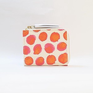Genuine Leather Fastener Compact Wallet Ladies Dot Dot Red