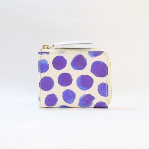 Genuine Leather Fastener Compact Wallet Ladies Dot Dot Purple