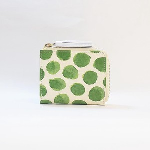 Genuine Leather Fastener Compact Wallet Ladies Dot Dot Green