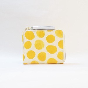 Genuine Leather Fastener Compact Wallet Ladies Dot Dot Yellow