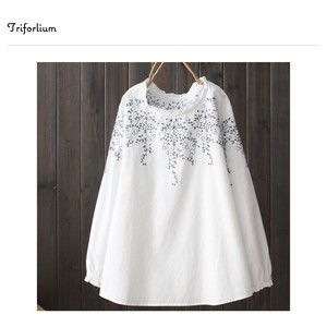 2 Colors Material Embroidery Blouse