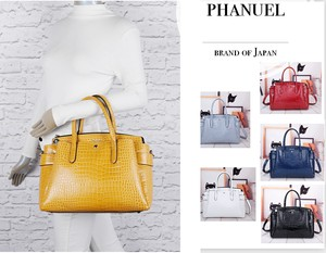 Push Crocodile Enamel Tote Partition Effect Commuting