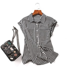 Silk Dress Shirt Ladies Short Sleeve Pattern Outerwear