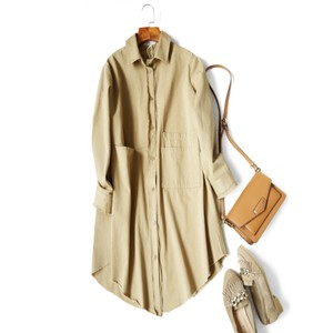 Casual Shirt Long Type Ladies Outerwear Crusher