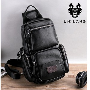Body Bag Men's LANG Brand Leather Vintage Black Business Shoulder Bag