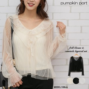 [ 2020NewItem ] Inner Camisole Sole Attached Pleats Frill Blouse