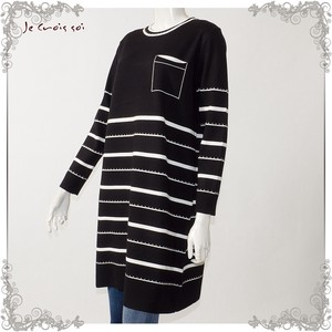 [ 2020NewItem ] Spring Items Knitted Pocket Long Tunic Border Knitted Lady