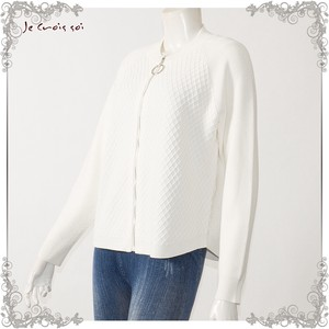 [ 2020NewItem ] Spring Items Knitted Diamond Knitted Blouson Fastener Cardigan Lady