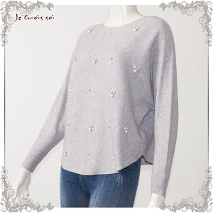 [ 2020NewItem ] Early Spring Knitted 8 Colors 3 Pcs Pearl Embroidery Dolman Knitted Lady