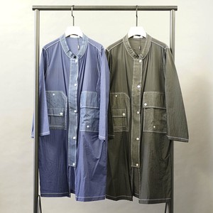 Open Denim Switching Long Washer Blouson