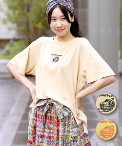 Nature Motif Embroidery T-shirt Ladies Casual Ethnic Leisurely