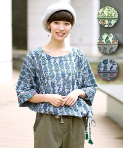 Botanical Flower Pullover Top Cut And Sewn Flower Leisurely Ladies Ethnic