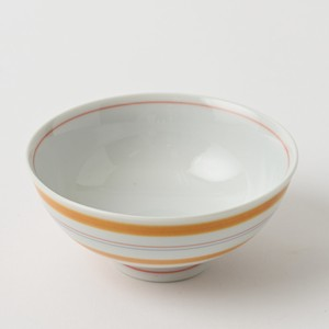 Pottery Original HASAMI Ware Line Japanese Rice Bowl Orange Hand-Painted