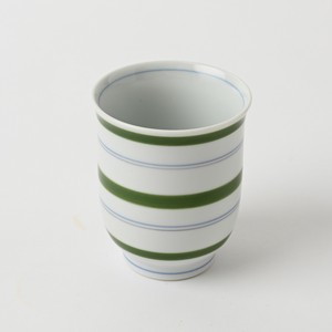 Pottery Original HASAMI Ware Line Hot Water Swallowing Green Hand-Painted