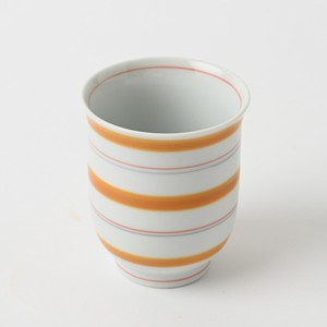 Pottery Original HASAMI Ware Line Hot Water Swallowing Orange Hand-Painted