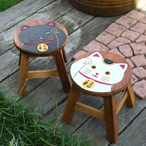Round Stool Beckoning cat