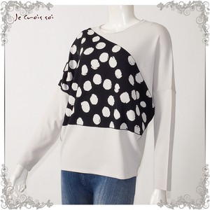[ 2020NewItem ] Spring Items Knitted Dot Jacquard Material Dolman Crew Neck Knitted Lady