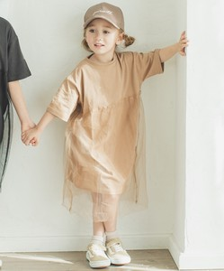 Girls Short Sleeve Cut And Sewn One-piece Dress