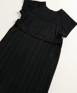 Bag Pleats Sleeveless Cut And Sewn Docking Short Sleeve One-piece Dress