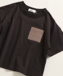 Unisex Material Pocket Wide Silhouette Short Sleeve T-shirt Cut And Sewn