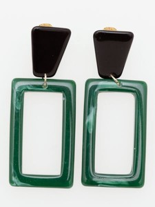 Design Square Marble Pierced Earring