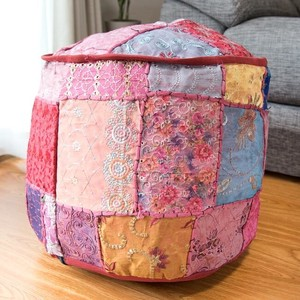 Patchwork Cushion Cover Dark Red