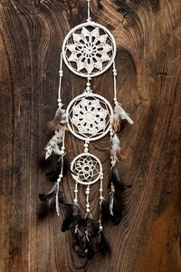 Hand Knitting Cotton White Dream Catcher