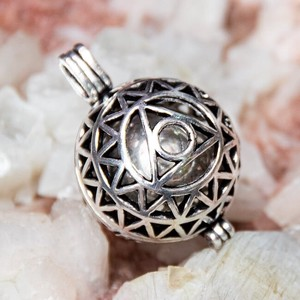 Ethnic Ball Pendant Head Silver Triangle