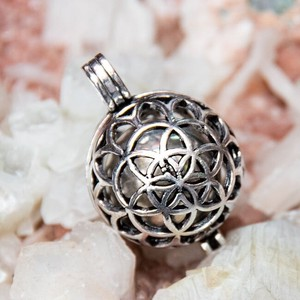 Ethnic Ball Pendant Head Silver Flower