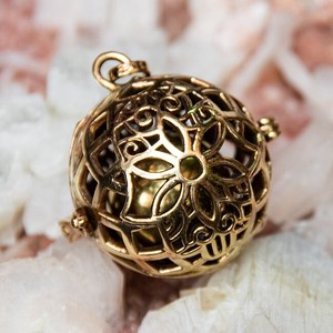 Ethnic Ball Pendant Head Gold Flower