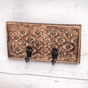 Mango Wood Antique Wall Clothes Hanger Brown Double
