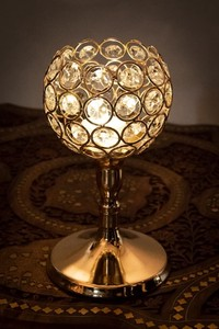 Crystal Glass Arabian Candle Holder Gold
