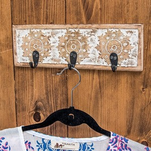 Mango Wood Antique Wall Clothes Hanger White Triple