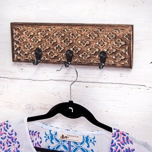 Mango Wood Antique Wall Clothes Hanger Brown Triple