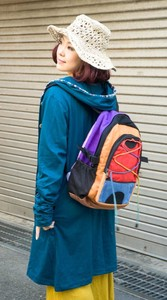 hemp Cotton Colorful Backpack Red Orange