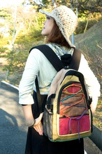 hemp Cotton Colorful Backpack Brown