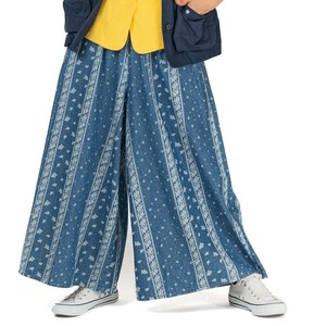 S/S Repeating Pattern Print Denim Gather wide pants