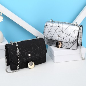 Ladies S/S Fashion Chain Small Square Bag Shoulder Diagonally Bag Leather