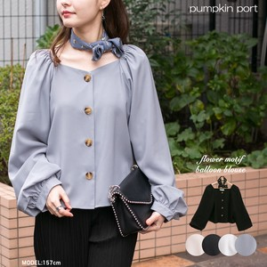 [ 2020NewItem ] Plain Plain-woven Floral Pattern Scarf Attached Square Neck Balloon Blouse