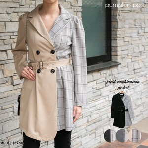 Checkered Fabric Belt Attached Combi Jacket