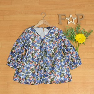 Blouse Ladies Top Three-Quarter Length Line Floral Pattern Frill