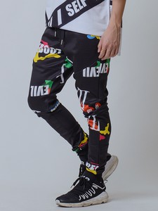Spring Items Jersey Material Camouflage Alphabet Pants Unisex Multi-Color Size S