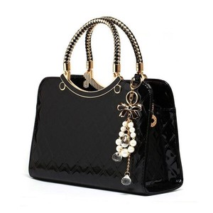 Shoulder Bag Brand Ladies Leather Enamel Handbag Messanger Tote Black