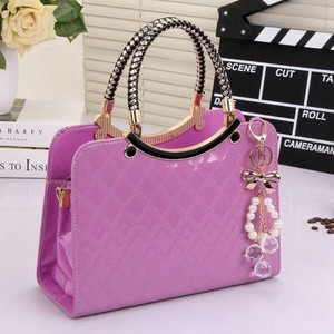Shoulder Bag Brand Ladies Leather Enamel Handbag Messanger Tote Pink